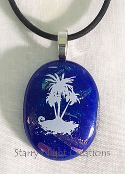 Palm Trees, w/Black Rubber Necklace