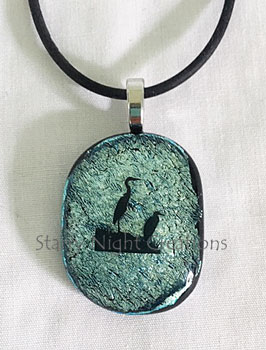 Herons, w/Black Rubber Necklace