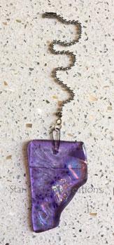 Lavender Jewel Fan Pull w/Ball Chain