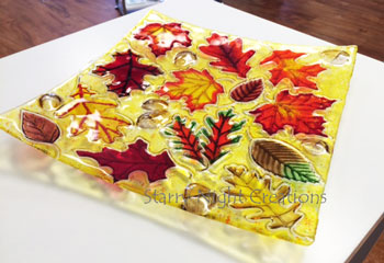 Fall Leaves & Acorns Plate - Custom