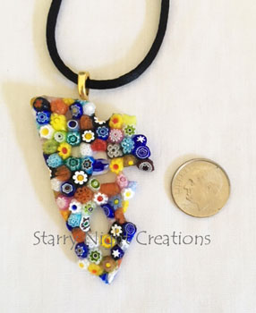 Many Flowers, Millefiore Pendant w/Black Satin Necklace