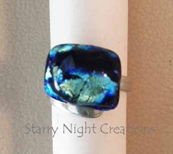 Black n Blue Metallic, Fused Dichroic Glass Ring