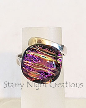 Purple Pink Surprise, Dichroic Glass Ring