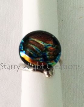 Fire Stripe, Fused Dichroic Glass Ring